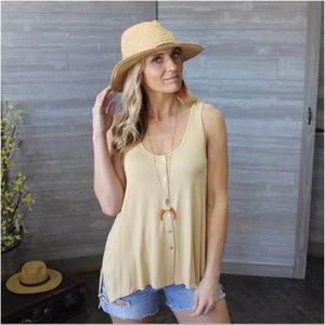 Tan Button Down Tank